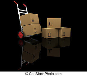 Hand truck with boxes - 3D render of a hand truck with boxes