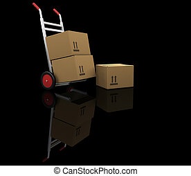 Hand truck with boxes - 3D render of a handtruck with boxes