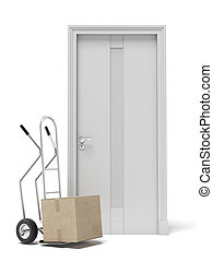 hand truck with boxes and door