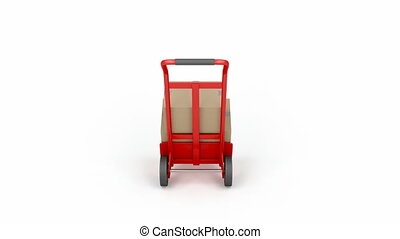 Hand truck with boxes, rotates on white background