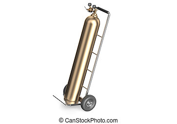 hand truck with bronze gas cylinder