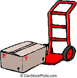 hand truck with cardboard box