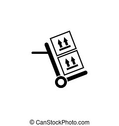 Hand Truck with Cardboard Boxes Flat Vector Icon
