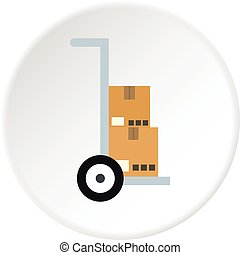 Hand truck with cardboard boxes icon circle
