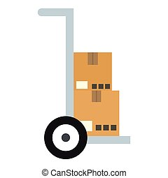 Hand truck with cardboard boxes icon, flat style
