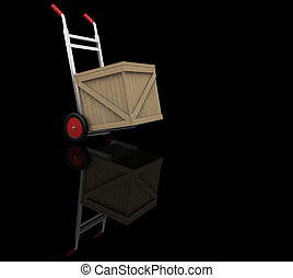 Hand truck with crate - 3D render of a hand truck with a...