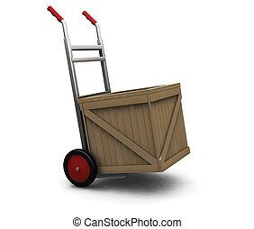 3D render of a hand truck with a crate