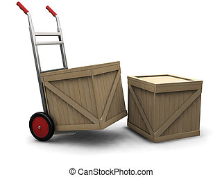 Hand truck with crates - 3D render of a hand truck with ...