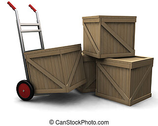 Hand truck with crates - 3D render of a hand truck with...