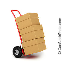 Hand truck with packages - Red hand truck with three...