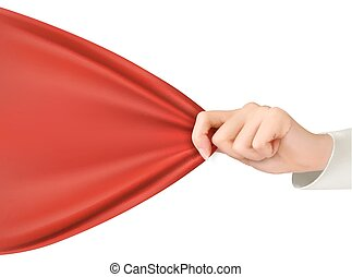 Hand tugging a red cloth with space for text. Vector.