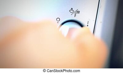 Hand turn on mode steam in coffee machine for milk whipped...
