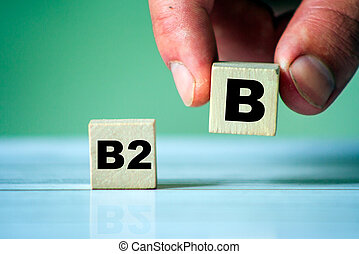 Hand turn wooden cube block and change text B2C to B2B