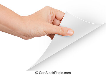 Hand Turning Page - Hand turning page, isolated on white...