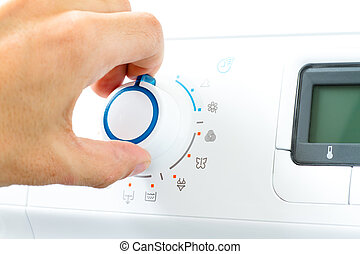 Washing Machine Appliance Dial - Hand Turning Washing...