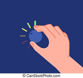 Hand turns button. Low high levels, volume equalizer or change reduction knob. Businessman setting investment utter process vector metaphor