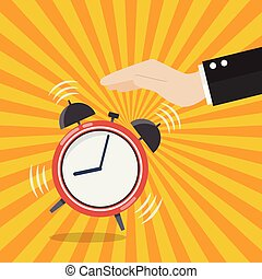 Hand turns off the alarm clock. Vector illustration