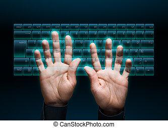 virtual keyboard - hand typing in on a virtual keyboard...