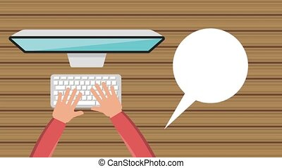 hand typing in the laptop with chat bubble