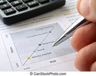 hand, und, investition, tabelle