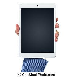 hand, und, tablette pc