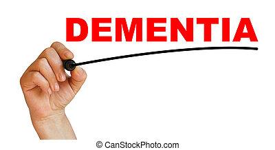 dementia - Hand underlining dementia with red marker