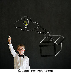 Hand up answer boy business man with thinking out the box concept