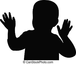 hand up, baby silhouette vector