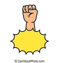 hand up fist with explosion pop art