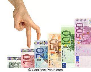 hand, uppstigning uppe, trappa, av, pengar