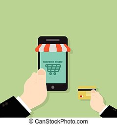 hand use credit card buy shopping online on smartphone, flat design