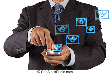 hand use smart phone computer with email icon