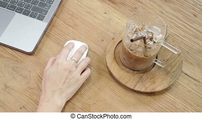 Hand use with computer mouse top view, stock footage