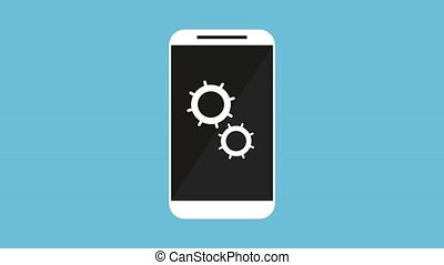 hand user smartphone with gears settings animation