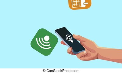 hand user smartphone with menu applications animation...