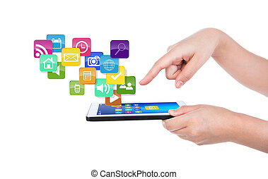 Hand using a touch screen device against white background