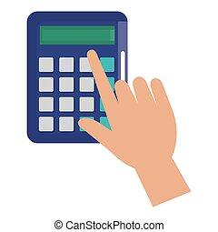 hand using calculator math device icon vector illustration...