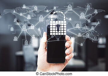 Hand using cellphone with padlock