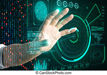 Hand using glowing digital communication and security interface