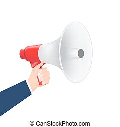 hand using megaphone on a white background