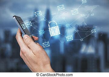 Hand using phone with padlock