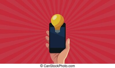 hand using smartphone device with bulb