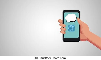 hand using smartphone with menu applications animation