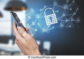 Hand using smartphone with padlock