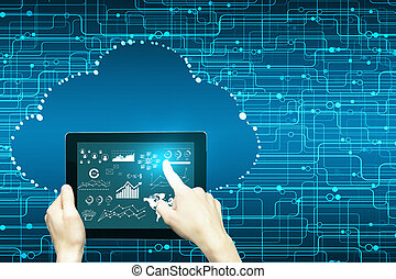 Cloud computing concept - Hand using tablet with business...