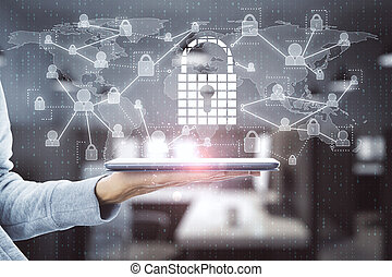 Hand using tablet with padlock