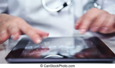 Hand using Touch Pad - Doctor Woman Using Digital Tablet....
