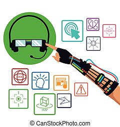 hand using wired glove headset vr technology items vector...