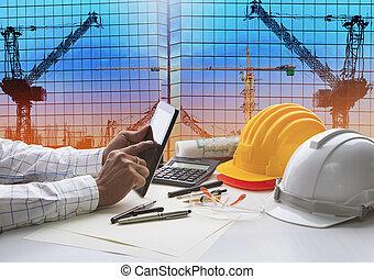 hand, van, architect, doorwerken, tafel, met, tablet, computer, en, werken