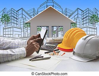 hand, van, architect, werkend aan computer, tablet, met, bouwsector, en, ingenieur, werkende , werktuig, bovenop, tafel, tegen, thuis, uit, lijn, en, schetsen, van, modern gebouw, perspectief